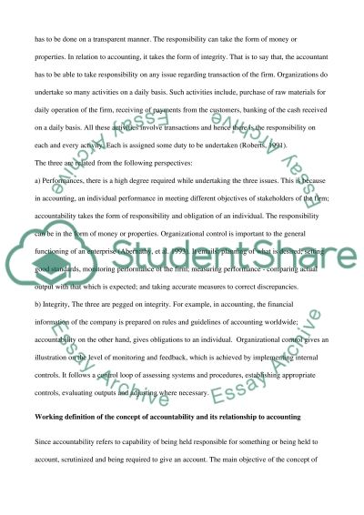 Relationship between accounting, accountability and organizational control essay example