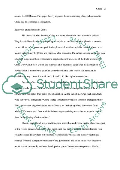 Economic Globalization In China Essay Example  Topics And Well  Economic Globalization In China