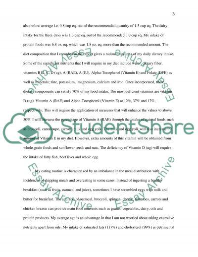 Diet Analysis Report essay example