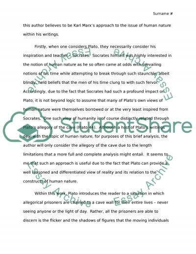 Compare between Plato and Karl marx on the topic of human nature essay example