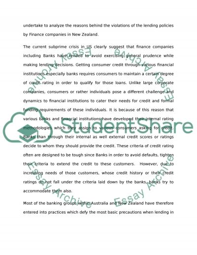 New Zealand Bank Lending Practice essay example