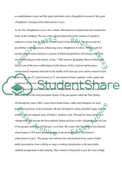 Milt Jackson Essay Example   Topics and Well Written Essays
