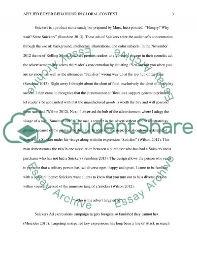 Applied Buyer Behaviour In Global Context essay example