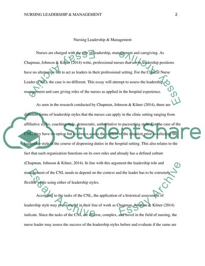 Nursing Leadership  Management Essay Example  Topics And Well  Nursing Leadership  Management  Essay Example