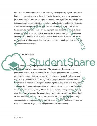 LearningJournal essay example