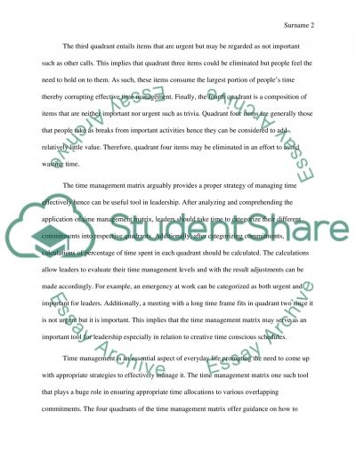 Time Management MatrixLeadership Essay Example  Topics And Well