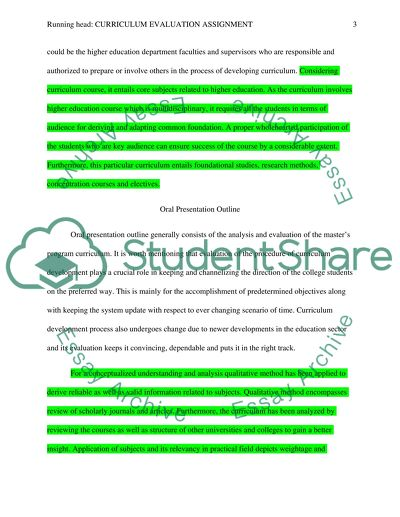 Curriculum Evaluation Assignment Research Paper