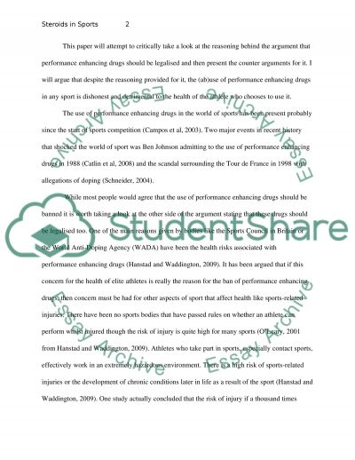 Steroids in Sports essay example