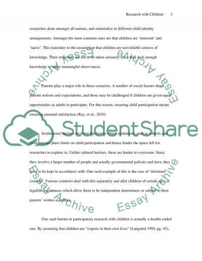 Research with children essay example