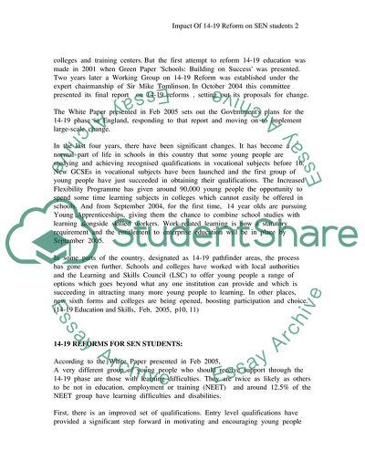 Impact Of 14-19 Reform on SEN Students