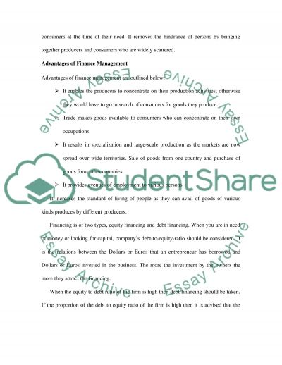 Financial Resource Management essay example
