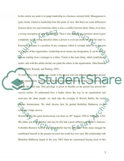 Leadership as privilege essay example