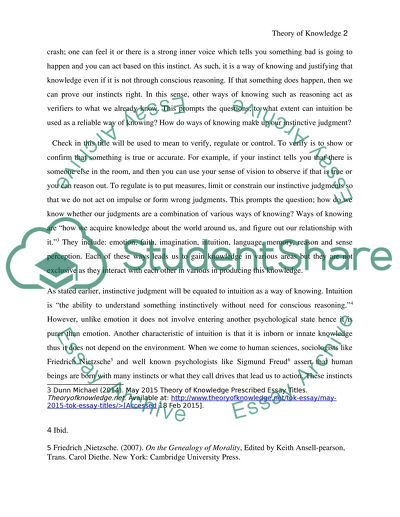Ways Of Knowing Are A Check On Our Instinctive Judgments To What Essay