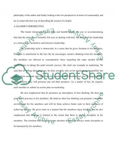 Philosophy of Leadership essay example