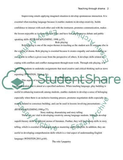 Teaching foreign language through drama in education-portfolio entry