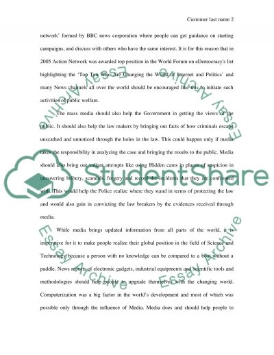 Media: updated information from all parts of the world essay example