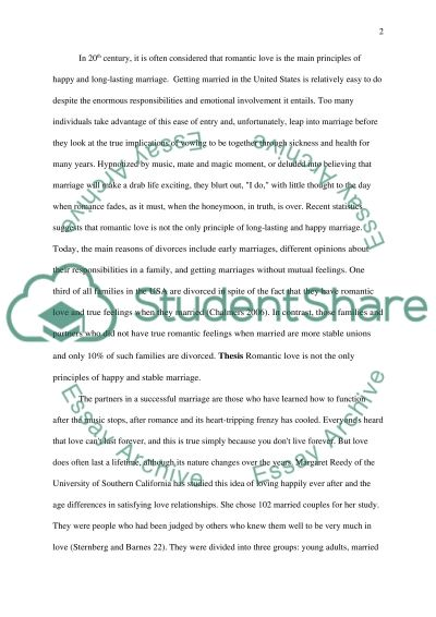 Romantic Love and Marriage essay example