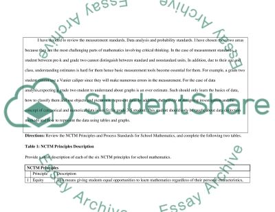 National Council of Teachers of Mathematics (NCTM) Principles and Process Standards Worksheet essay example