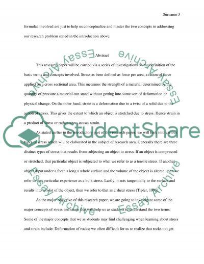 Stress and Strain Physics Coursework essay example