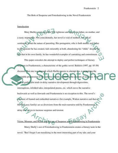 Synthesis Essay The Role Of Suspense And Foreshadowing In The Novel Frankenstein The Yellow Wallpaper Essay Topics also Essay About Healthy Diet The Role Of Suspense And Foreshadowing In The Novel Frankenstein Essay Essay On Science And Religion