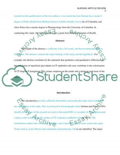 Nursing essay example
