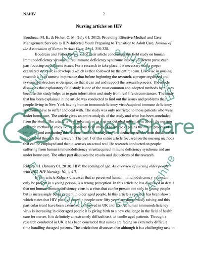nursing articles on hiv annotated bibliography example