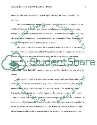The Regret - Original Writing Essay - Words | Bartleby