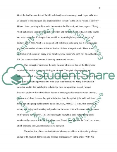 American Culture and Work essay example