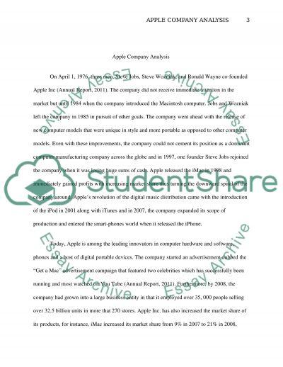 Apple Company Analysis essay example