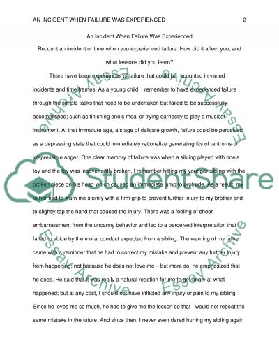 An Incident When Failure Was Experienced essay example