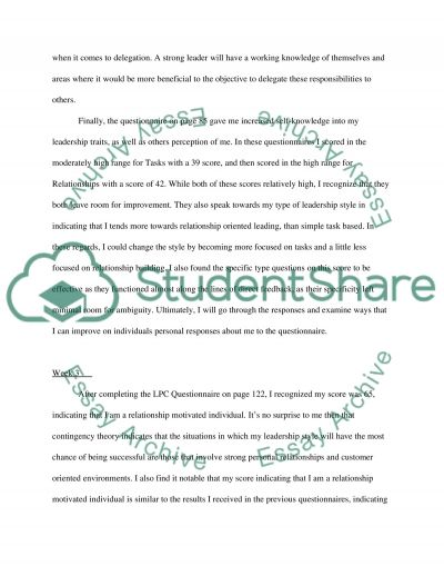 Leadership in organisations (Reflective journal assignment) essay example