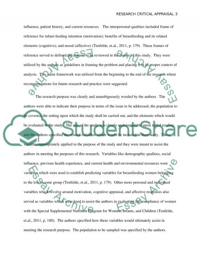 Research Critical Appraisal essay example