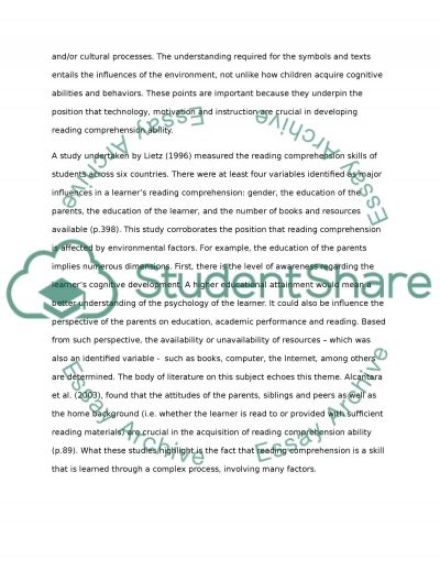 Influences on comprehension, fluency, and word recognition essay example