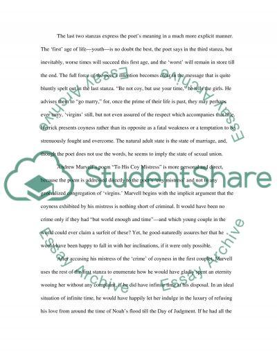 British Literature Poetry essay example