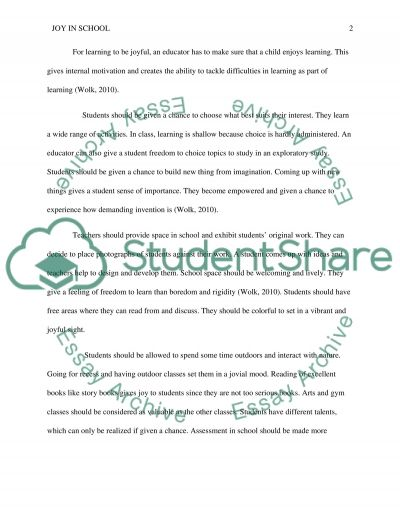 Article #5 Joy in School by Steven Wolk essay example