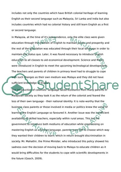 Proposal Argument Essay Topics  How To Write Essay Papers also How To Start A Synthesis Essay English Medium Education For People Whose First Language Is  Process Essay Thesis Statement