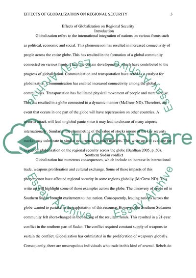 What Is A Thesis In An Essay Effects Of Globalization On Regional Security  Essay Example Essay On Healthy Foods also High School English Essay Topics Effects Of Globalization On Regional Security Essay How To Write A College Essay Paper
