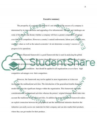 Porters Diamond framework essay example