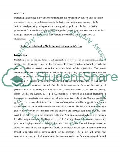 A Study of Relationship Marketing on Customer Satisfaction essay example