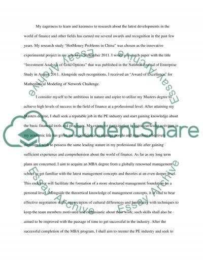 Essay on Finance essay example