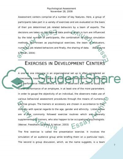Psychological Assessment essay example