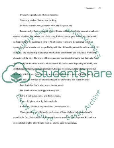 Shakespeare Character Analysis Richard III Essay