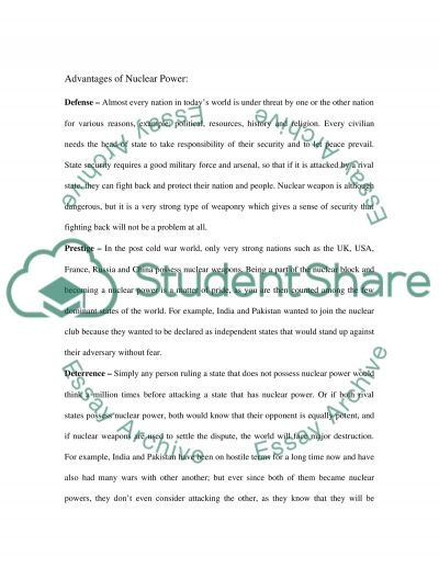 The Spread Of Nuclear Weapons essay example