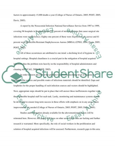 Evaluation of Infection Control in Hospitals essay example