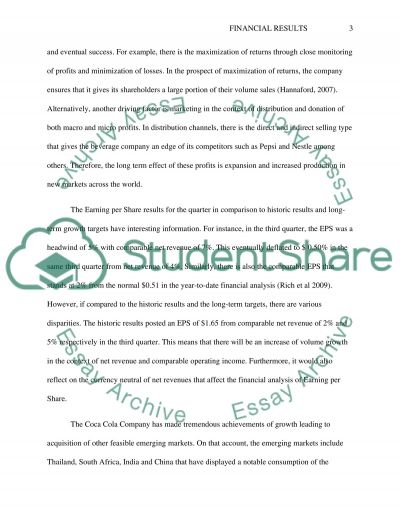The Coca-Cola Company Financial Results Analysis essay example