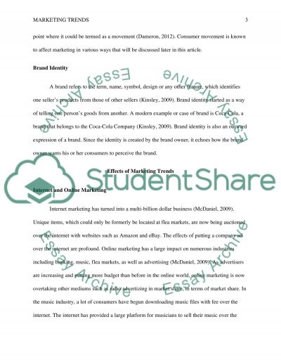 Marketing Trends Assignment essay example