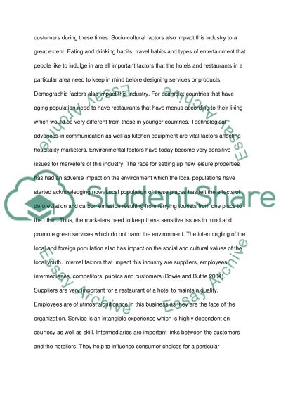 Marketing in Hospitality industry Essay example