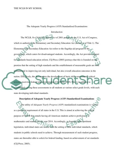 NCLB in your School essay example