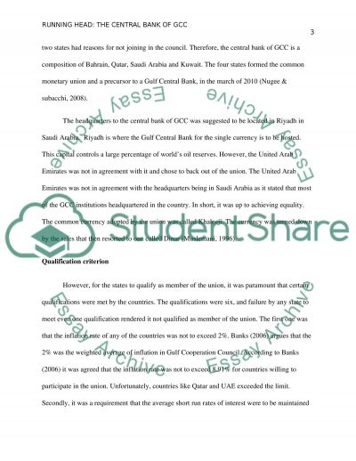 Central Bank for GCC (Gulf Cooperation Council) essay example
