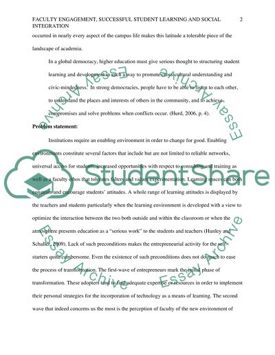 Faculty engagement, successful student learning and social integration